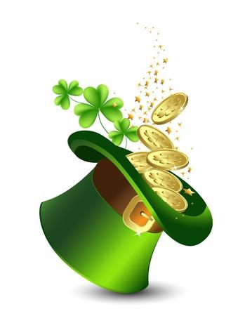 st patrick s day: Celebrativo sfondo con un cappello verde e oro, giorno di San Patrizio s Vettoriali