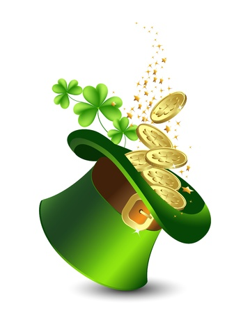 Celebratory background with a green hat and gold, St  Patrick s Day