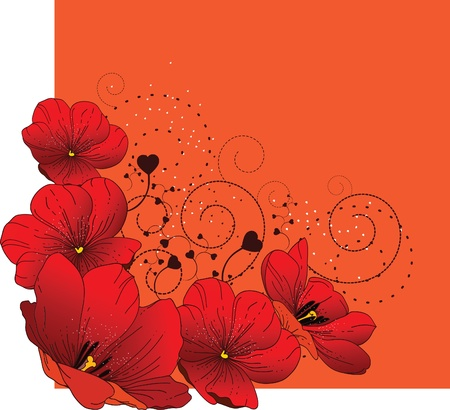 Floral background with red tulips  Vector