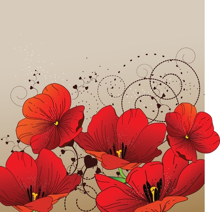 plant hand: Floral background with red tulips