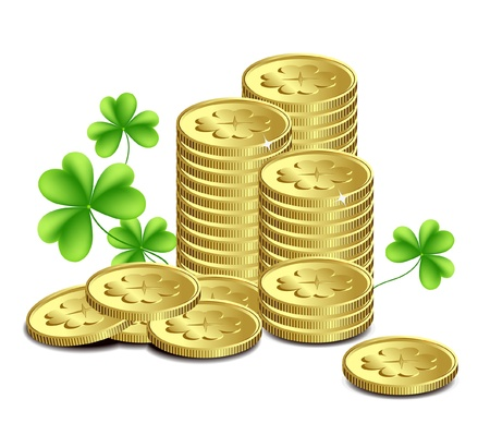Gold coins and leaves of clover, St  Patrick s Day celebration Vector