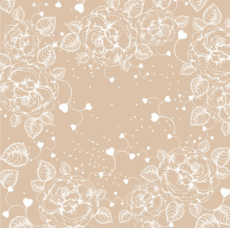 hadron: Floral background with roses and hearts