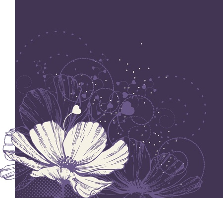Flower background with heart  Vector