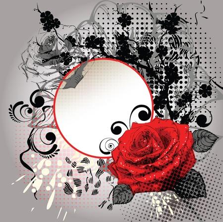 Frame met een rode roos en een zwarte tak Stock Illustratie
