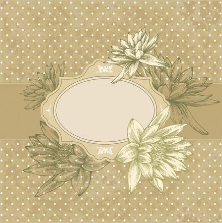 water lilies: Marco de la vendimia con nen�fares en flor