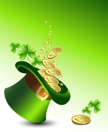 Background to the St  Patrick s Day with a green hat with gold coins, and clover   Vector