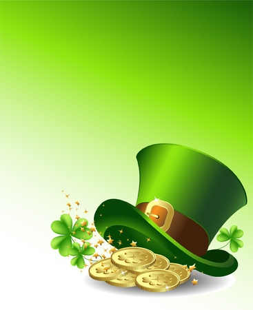 Background to the St  Patrick s Day with a green hat and gold coins  Vector