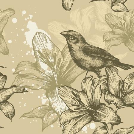 pajaro dibujo: De fondo sin fisuras con los pájaros y los lirios en flor, dibujo a mano. Vector.