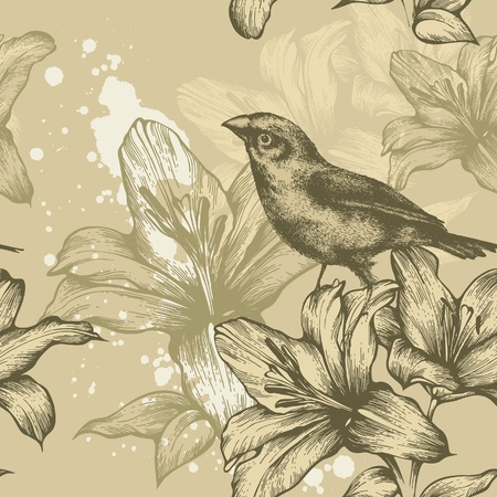 Seamless background with birds and flowering lilies, hand-drawing. Vector. Illustration