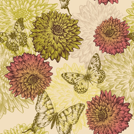 flora fauna: Seamless wallpaper with flowering chrysanthemums and butterflies