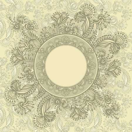 Vintage template with abstract flowers Vector