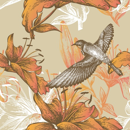 Seamless pattern with lilies and a flying bird