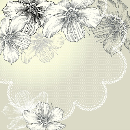 Floral background with vintage lace and flowers, hand-drawing Vector