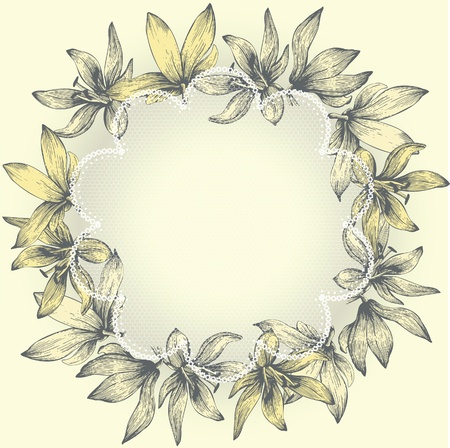 Vintage lace frame with flowers, hand-drawing Vector