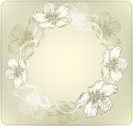 Round lace with blooming flowers, hand-drawing  Vector illustration  Vector