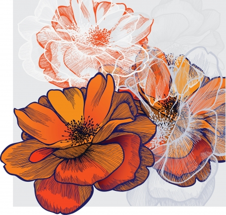 Abstract background with flowering roses, hand-drawing.