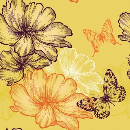 Seamless floral background with wild roses and butterflies, hand-drawing.