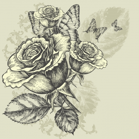 Floral background with butterflies and roses, hand-drawing. Illustration