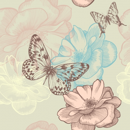 outline flower: Seamless floral pattern with roses and butterflies, hand-drawing. Illustration