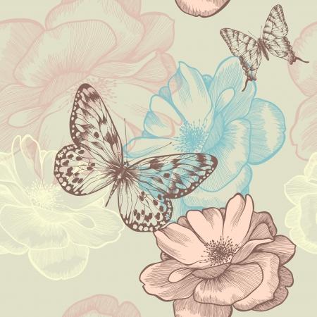 mariposas volando: Sin fisuras patr�n floral con rosas y mariposas, dibujo a mano.