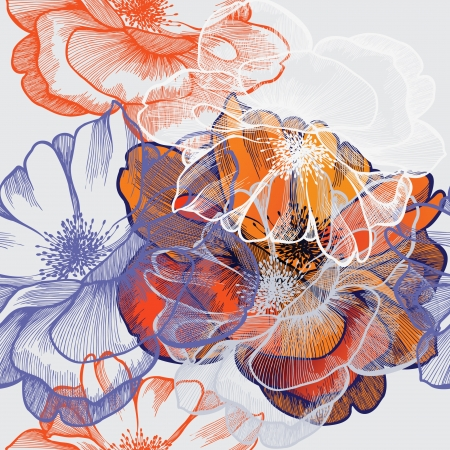 Seamless abstract floral background with roses, hand-drawing.
