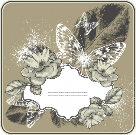 flora fauna: Vintage background with frame, blossoming with roses and butterflies. Hand drawing.