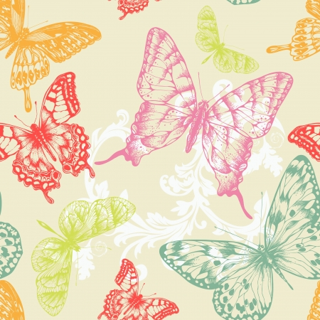 butterfly silhouette: Seamless pattern with flying butterflies, hand-drawing illustration. Illustration