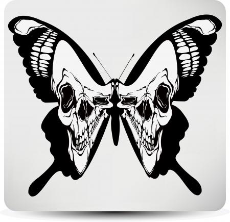 skull: Cr�ne papillon. Vector illustration.