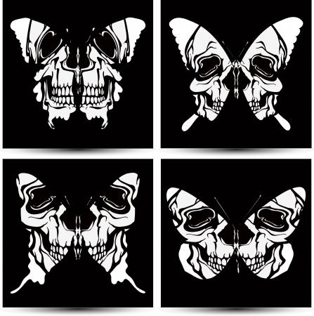 rothadó: Állítsa pillangók a koponyákat. Vektoros illusztráció. Illusztráció