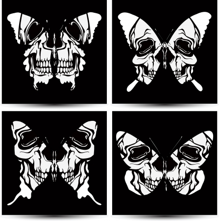 Set butterflies to skulls. Vector illustration. Stock Vector - 14309150