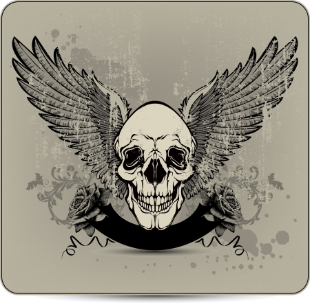 skull character: Skull with wings and roses, hand-drawing