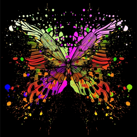 Butterfly on background of with color spots. Vector illustration.