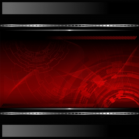 metallic background: Technological red background with metallic banner.