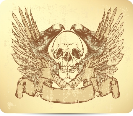 Skull with griffins and wings, hand-drawing. Vector illustration. Illustration