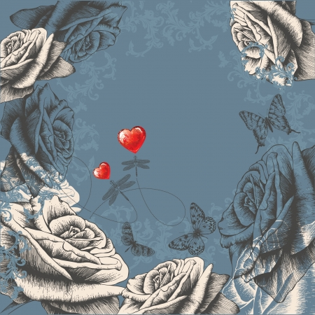 hand drawn wings: Floral background con le rose in fiore, farfalle che volano e libellule. Vector illustration Vettoriali