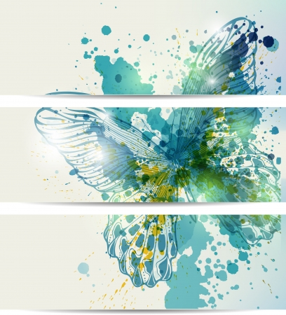 Set of three banners with butterflies and abstract blots Иллюстрация