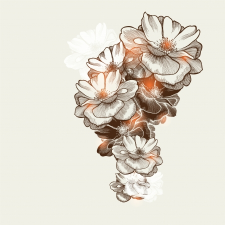 hand drawing: Floral background with flowering roses, hand-drawing.  Illustration