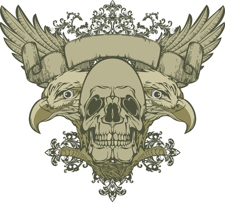 doubleheaded: Skull with wings and double-headed eagle, hand-drawing. illustration Illustration