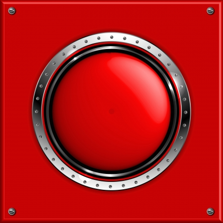 Red abstract metallic background with round glossy banner Иллюстрация