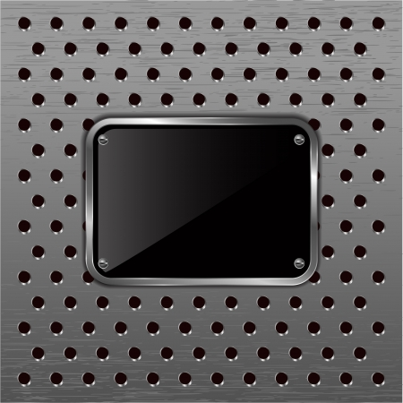 Glossy black plate on a metallic perforated background. Vector