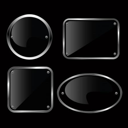 Glossy black plate set illustration.