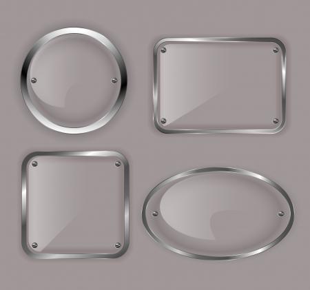 silver circle: Set di piastre di vetro in cornici illustrazione metalli