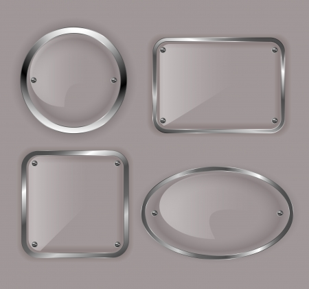 Set of glass plates in metal frames illustration