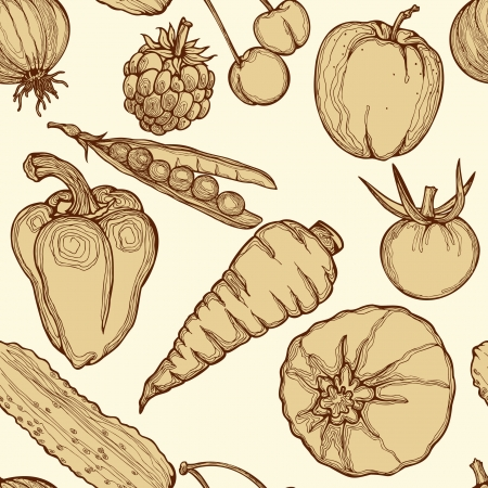 Seamless background with vegetables, fruits and berries. Hand drawing, illustration. Vector