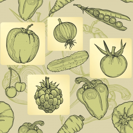 Seamless pattern of fruit, vegetables and berries. Hand drawing,  illustration Vector