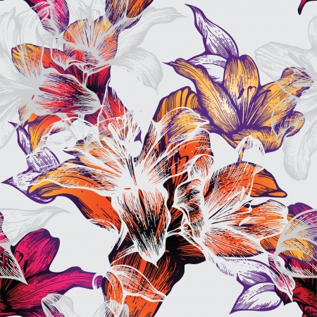 Seamless pattern with blooming lilies