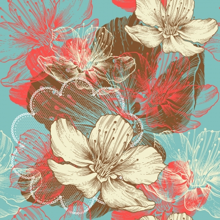 Seamless floral background with flowers Vector