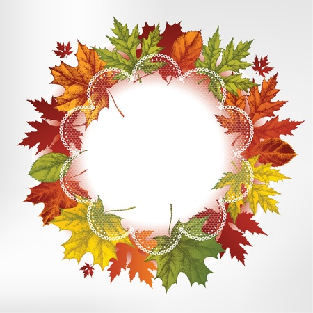 Wreath of autumn leaves, hand-drawing.  Vector