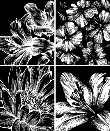 Set of backgrounds with flowers, hand-drawing. Vector. Vector