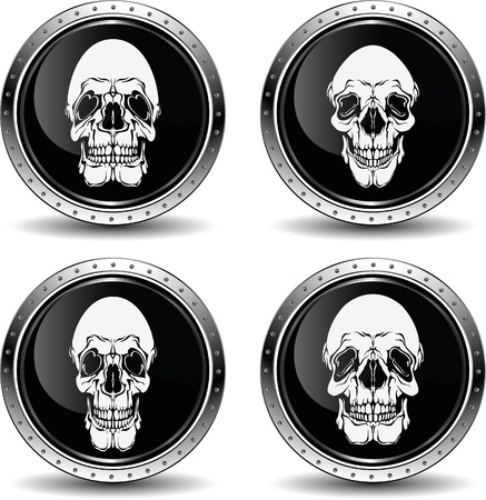 rest in peace: Icon with skull, vector illustration.